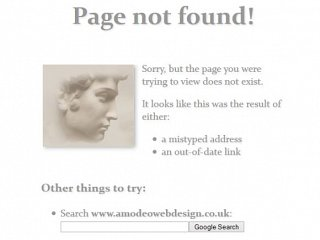 Web sites and the 404 error page